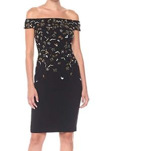 NWT Adrianna Papell beaded off shoulder dress, 6